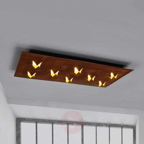 LED ceiling lamp Roni with a rust finish, 78x39 cm