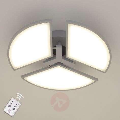 LED ceiling light Aurela, silver, three-bulb
