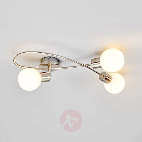 LED ceiling light Elaina, 3-bulb nickel matte