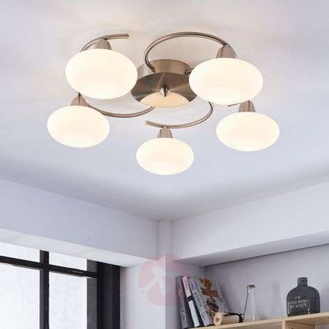 LED ceiling light Espen, matt nickel finish