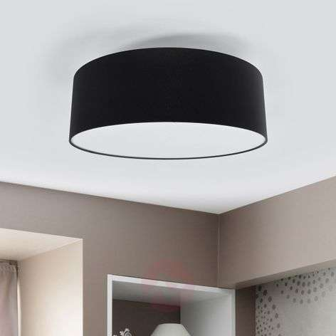 LED ceiling light Gala, 50 cm, black chintz shade