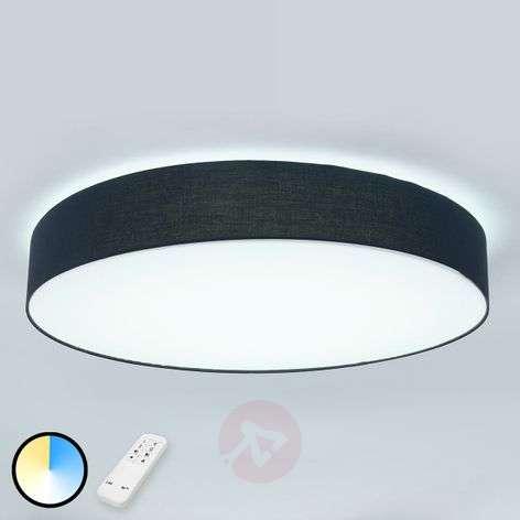 LED fabric ceiling lamp Ziola, round shape, black