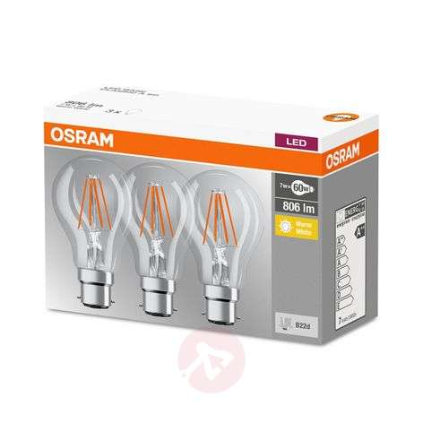 LED filament bulb B22d 7W, warm white, set of 3