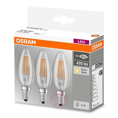 LED filament bulb E14 4W, warm white, set of 3