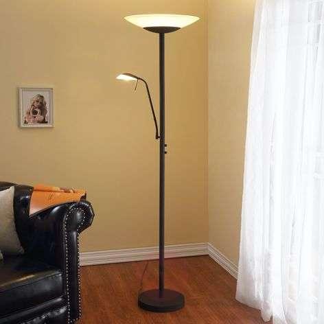 LED floor lamp Ragna with reading light, rust-9620650-311