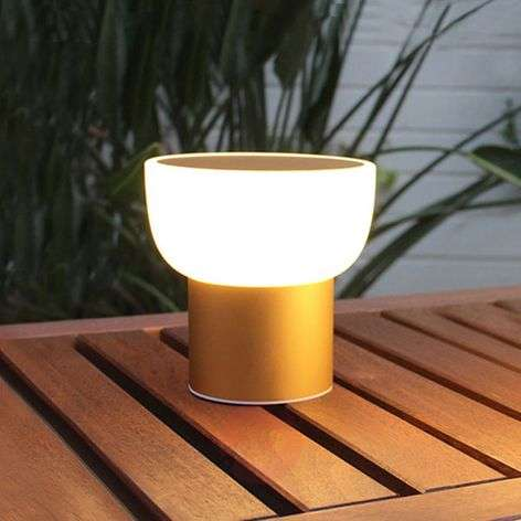 LED outdoor light Patio, gold, 16 cm, 1 USB port