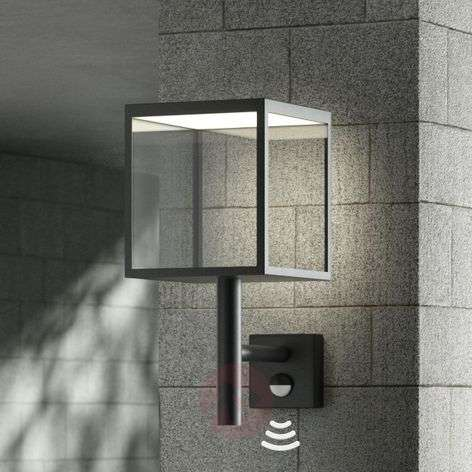 LED outdoor wall light Cube, graphite, with sensor