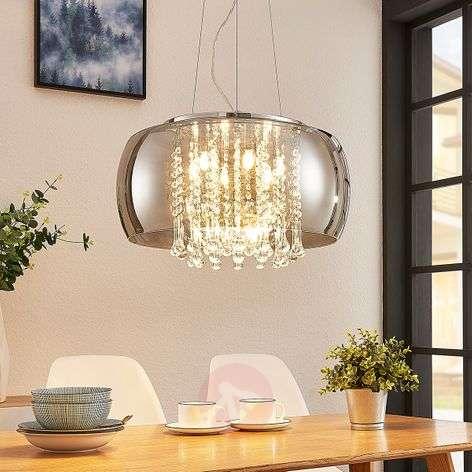 LED pendant light Joani, smoky glass shade 50 cm