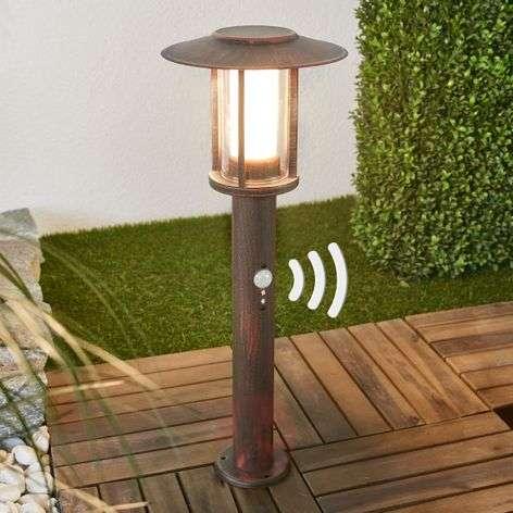 LED pillar lamp Pavlos in rust, motion detector