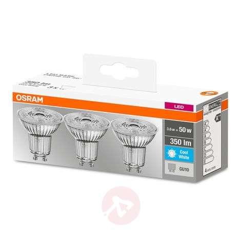LED reflector bulb GU10 4,3W, cool white, set of 3