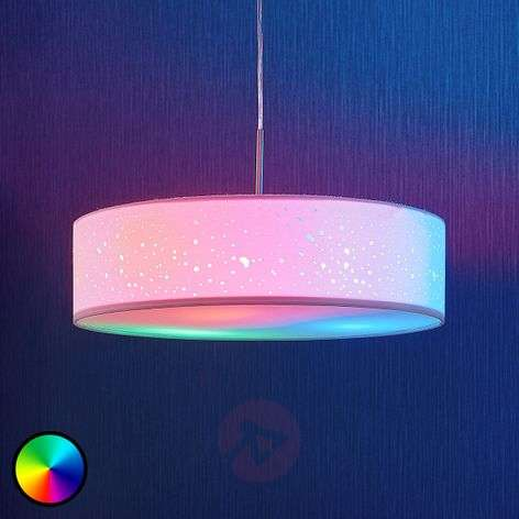 LED RGB pendant lamp Alwine with spots, round