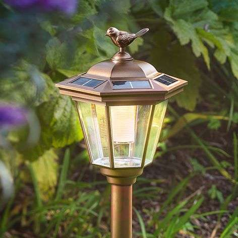 LED solar earth spike lamp Tivoli in copper look