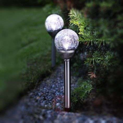 LED solar light rods with spheres set of 2