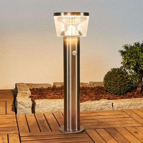 LED solar pillar light Antje, motion detector