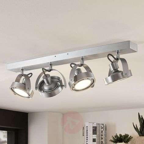 LED spotlight Munin, dimmable, alu, 4-bulb