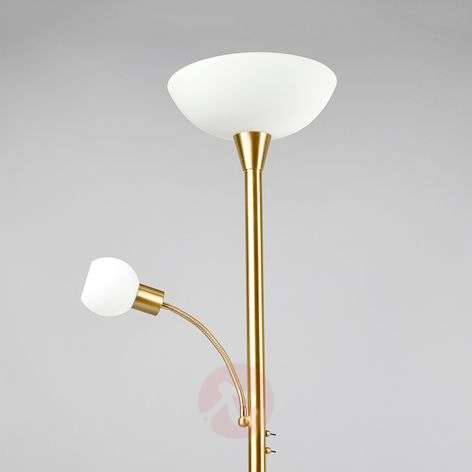 LED uplighter Elaina in brass with reading light