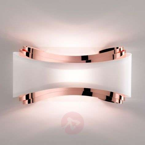 LED wall lamp Ionica, copper with glass panel