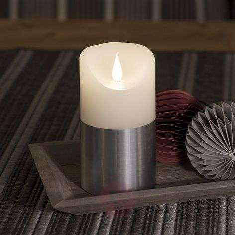 LED wax candle with sleeve in silver