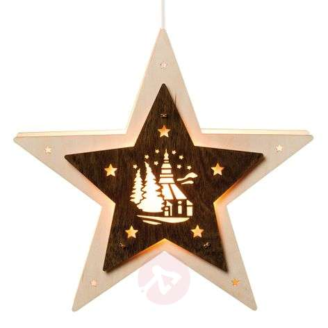 LED window star with a Seiffen church motif