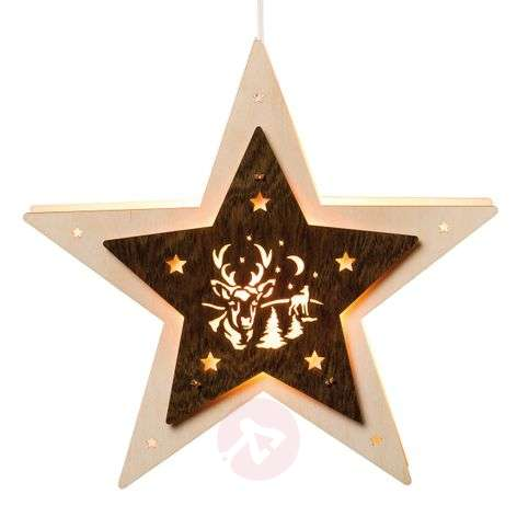 LED window star with a stag motif
