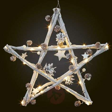 LED wooden star decorated with fir cones