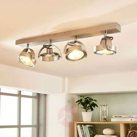 Lieven four-bulb LED ceiling light, aluminium-9621524-31
