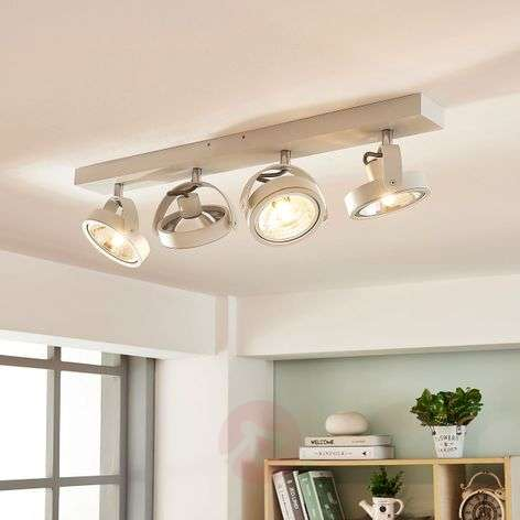 Lieven linear LED ceiling lamp, four-bulb white