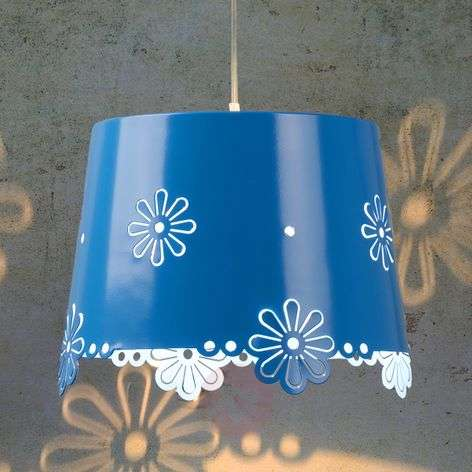 Light blue Deborah hanging light with flowers