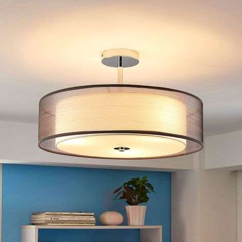 Light grey ceiling light Noralie, fabric