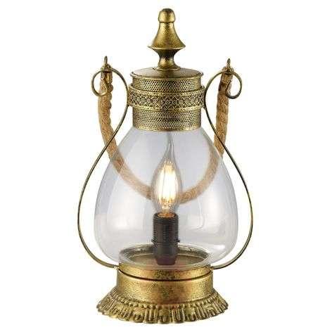 Linda - romantic table lamp in antique-brass