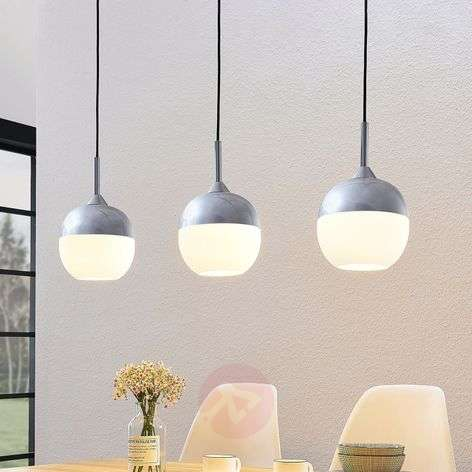 Lindby Rangina pendant lamp, chrome, three-bulb
