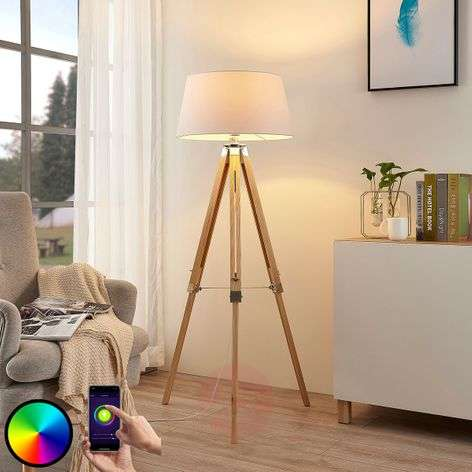 Lindby Smart LED floor lamp Alessa, app, RGB