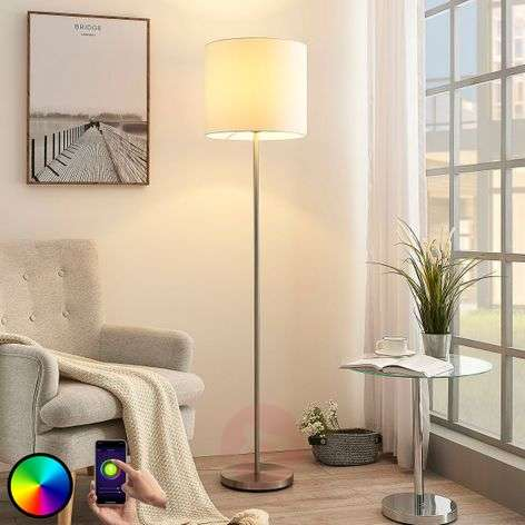 Lindby Smart LED floor lamp Everly, app, RGB