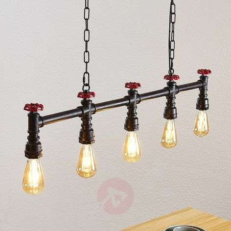 Lindby Zlata hanging lamp, 5-bulb industrial style