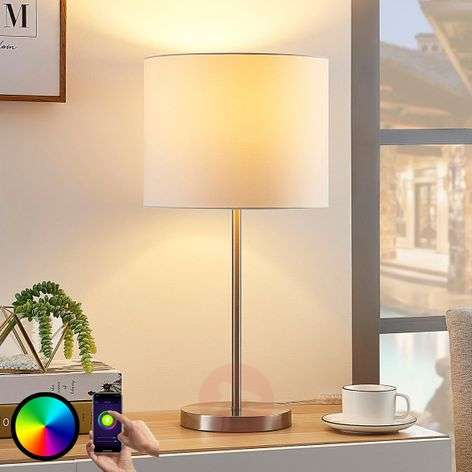 Lindy Smart fabric table lamp Everly, RGB LED