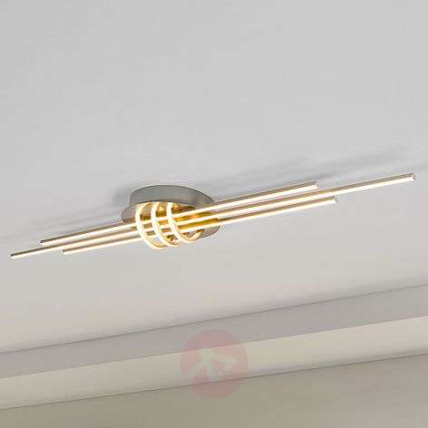 Linear LED ceiling light Leart, nickel-coloured