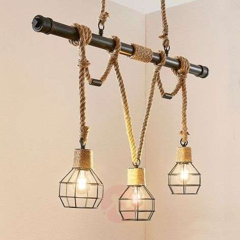Linear pendant light Ventura, vintage look, 3-bulb