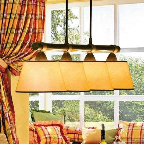 LIVING TABLE hanging light w/ four red lampshades