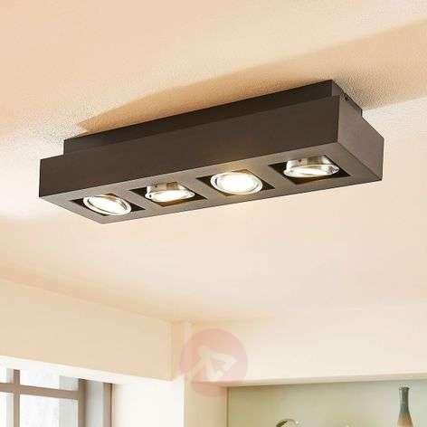 Long LED ceiling lamp Vince in black, four-bulb
