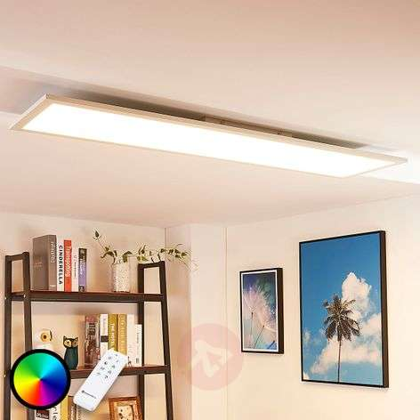 Long LED ceiling light Tinus, RGB and warm white