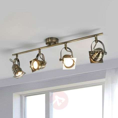 Long LED ceiling spotlight Janek, antique brass
