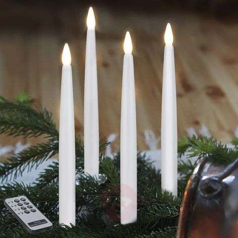 Long LED Christmas candles, set of 4, indoors