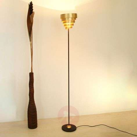 Lustrous floor lamp BANDEROLE in brown-gold