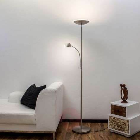 Malea - LED uplighter with reading arm, nickel