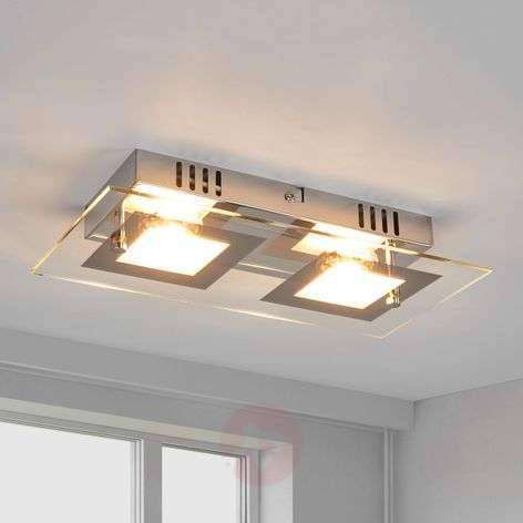 Manja - two-bulb LED ceiling lamp in chrome