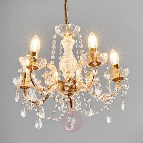 Marie Therese chandelier, brass, five-bulb