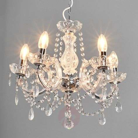 Marie Therese chandelier, chrome, five-bulb
