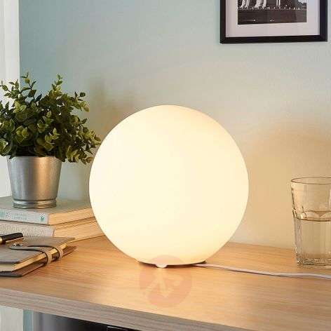 Marike spherical glass table lamp, white
