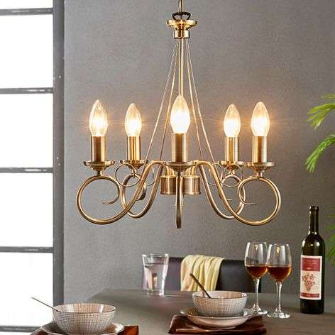 Marnia chandelier in antique brass, 5-bulb
