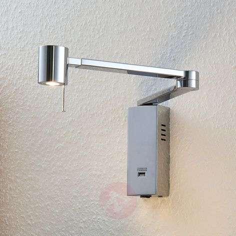 Merete LED wall light with a USB port